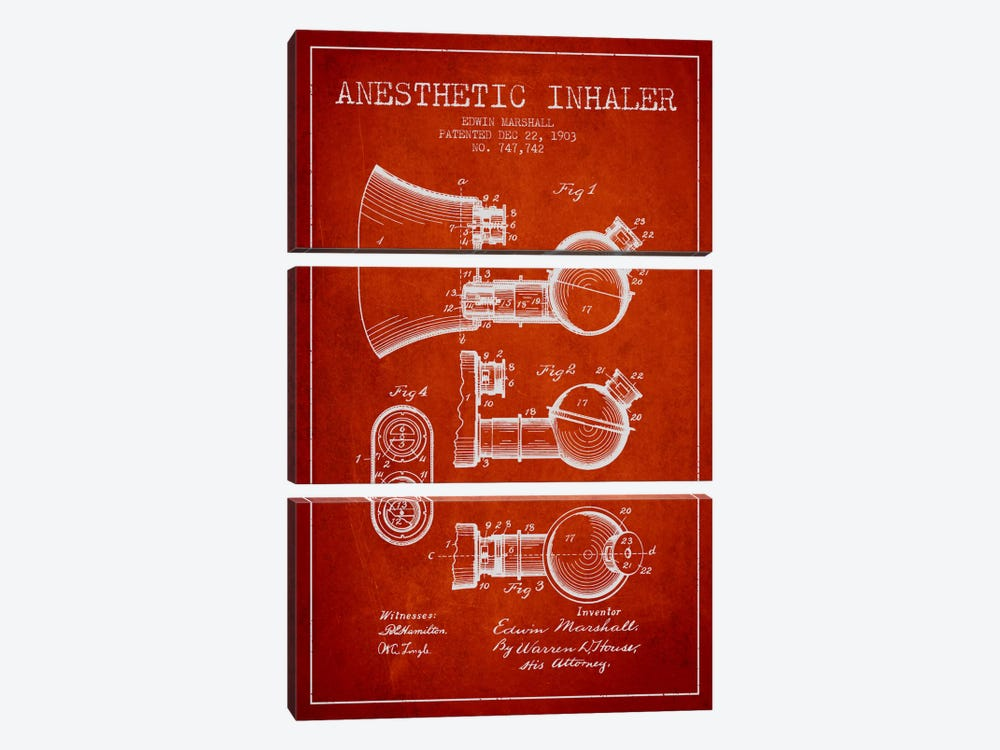 Anesthetic Inhaler Red Patent Blueprint by Aged Pixel 3-piece Canvas Art