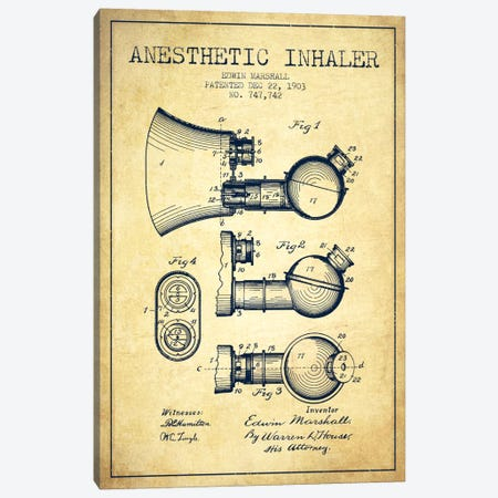 Anesthetic Inhaler Vintage Patent Blueprint Canvas Print #ADP1864} by Aged Pixel Art Print