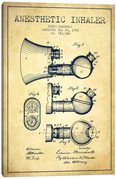 Anesthetic Inhaler Vintage Patent Blueprint Canvas Art Print