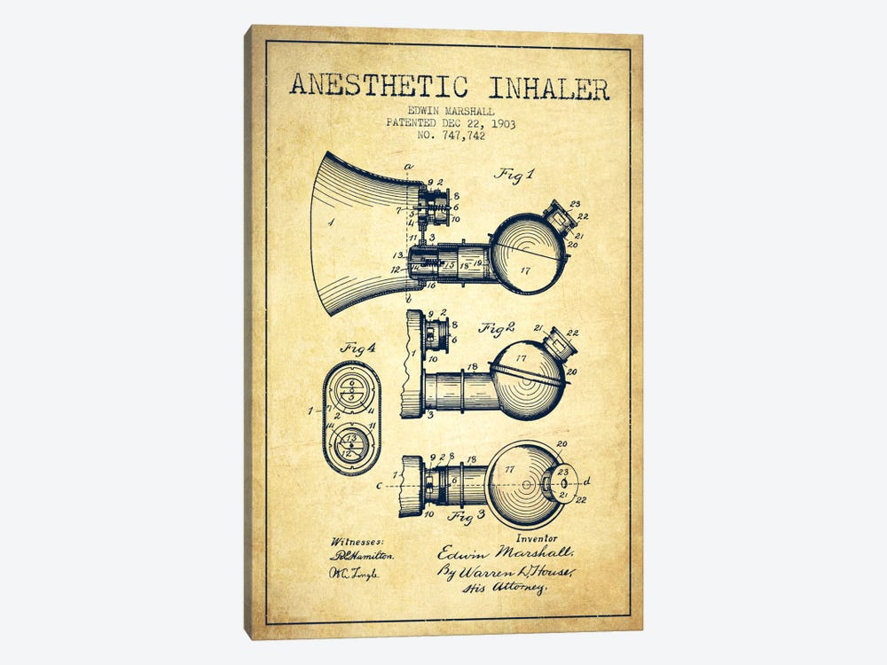 Anesthetic Inhaler Vintage Patent Blueprint by Aged Pixel 1-piece Art Print