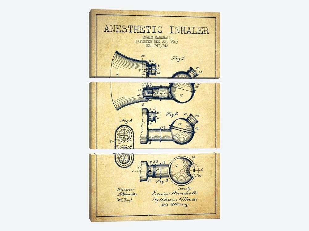 Anesthetic Inhaler Vintage Patent Blueprint by Aged Pixel 3-piece Art Print