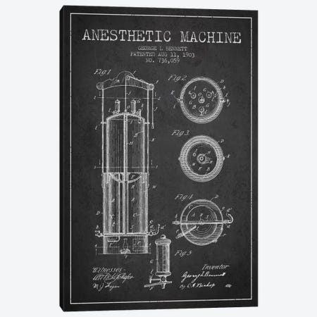 Anesthetic Machine Charcoal Patent Blueprint Canvas Print #ADP1865} by Aged Pixel Art Print