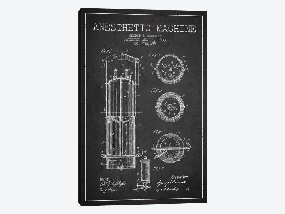Anesthetic Machine Charcoal Patent Blueprint by Aged Pixel 1-piece Canvas Artwork