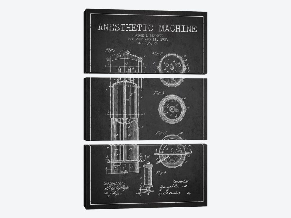 Anesthetic Machine Charcoal Patent Blueprint by Aged Pixel 3-piece Canvas Art