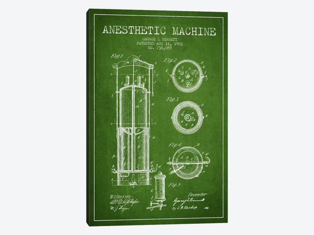 Anesthetic Machine Green Patent Blueprint by Aged Pixel 1-piece Canvas Art Print