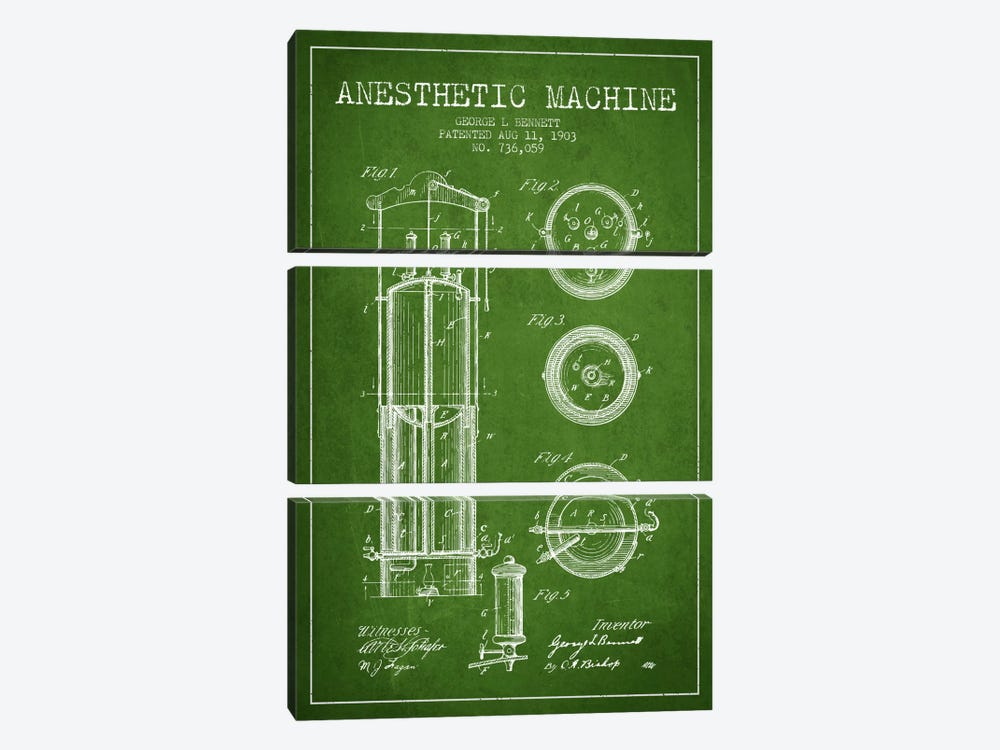 Anesthetic Machine Green Patent Blueprint by Aged Pixel 3-piece Art Print