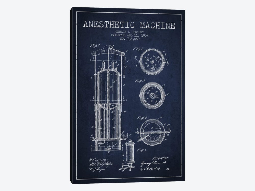 Anesthetic Machine Navy Blue Patent Blueprint by Aged Pixel 1-piece Canvas Art