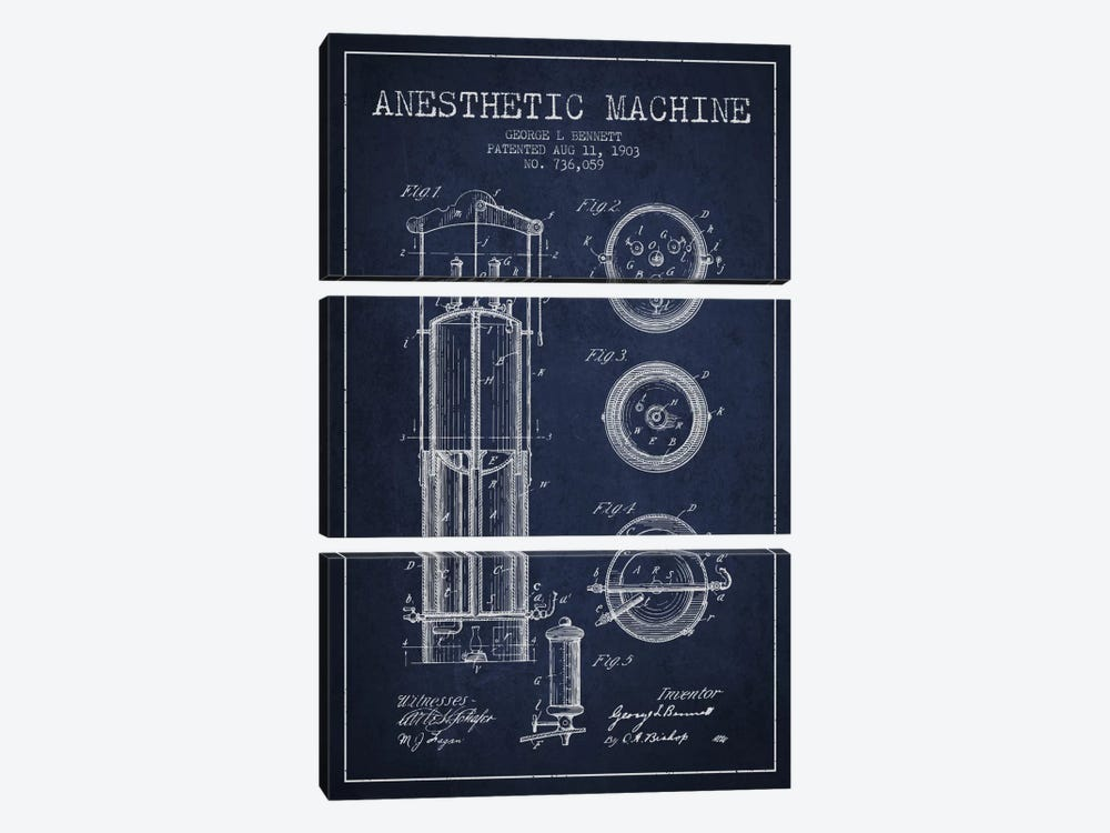 Anesthetic Machine Navy Blue Patent Blueprint by Aged Pixel 3-piece Canvas Artwork