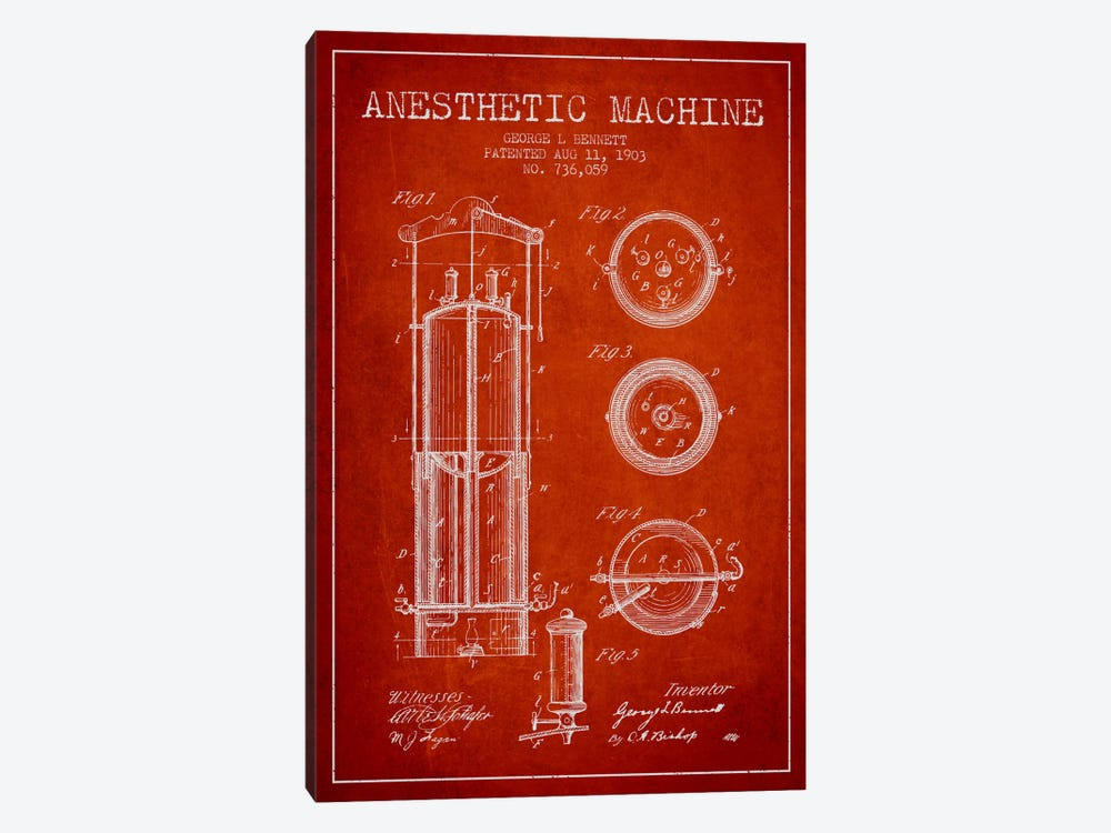 Anesthetic Machine Red Patent Blueprint by Aged Pixel 1-piece Art Print