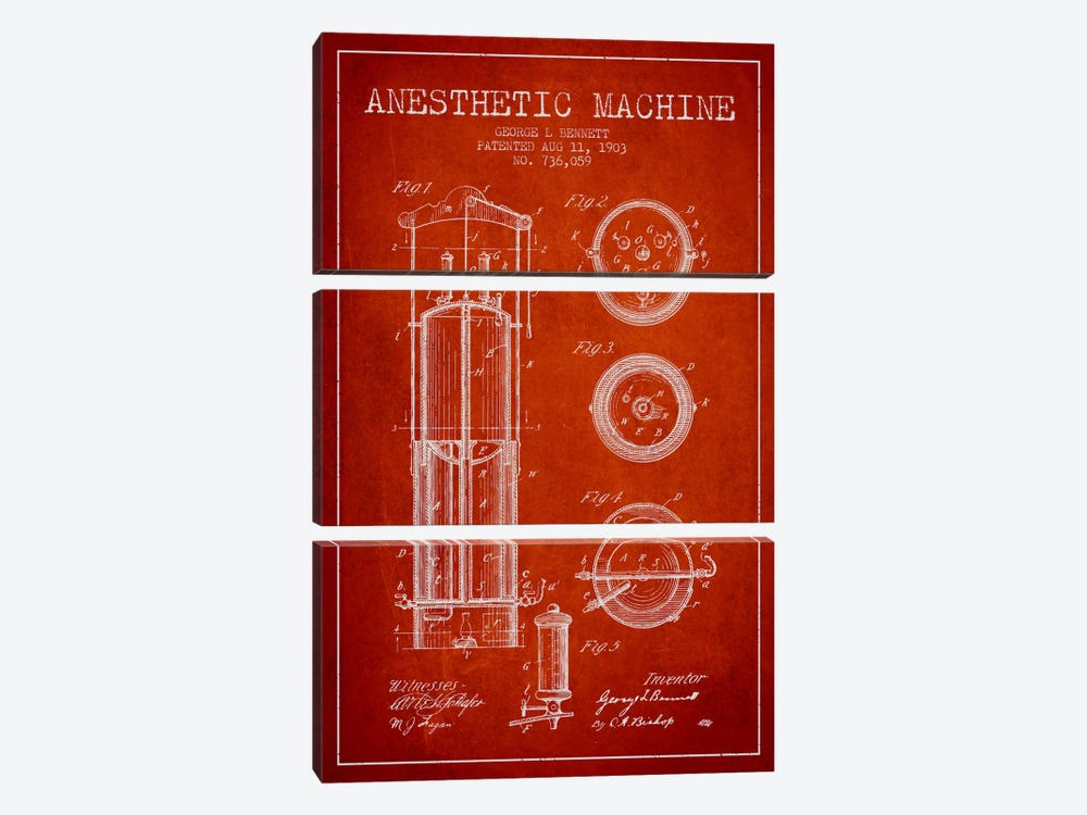 Anesthetic Machine Red Patent Blueprint by Aged Pixel 3-piece Art Print