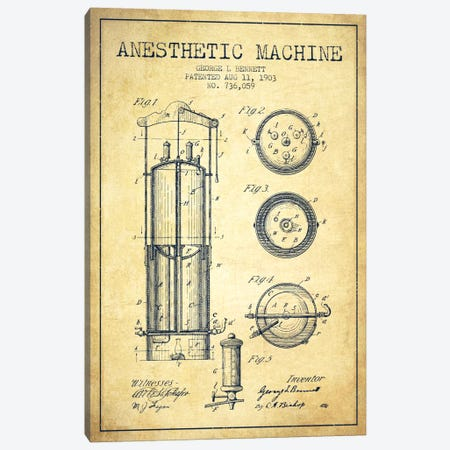 Anesthetic Machine Vintage Patent Blueprint Canvas Print #ADP1869} by Aged Pixel Canvas Wall Art