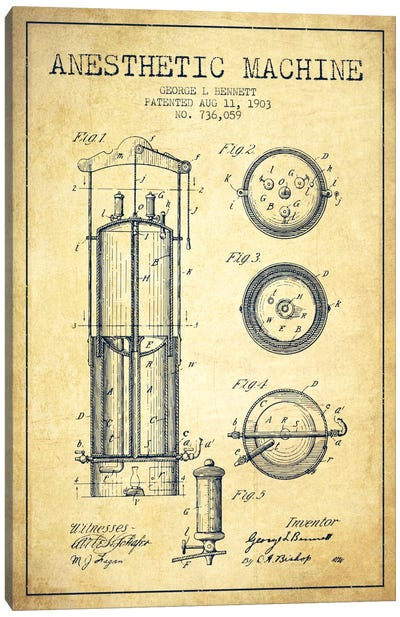 Anesthetic Machine Vintage Patent Blueprint Canvas Art Print