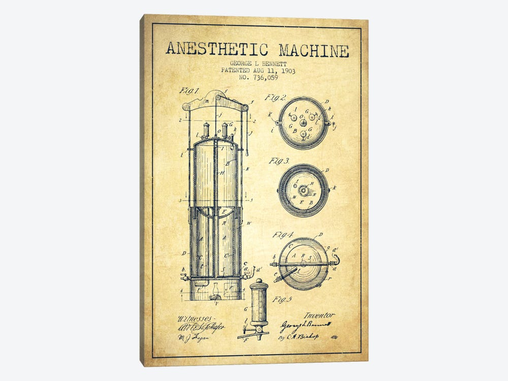 Anesthetic Machine Vintage Patent Blueprint by Aged Pixel 1-piece Canvas Art