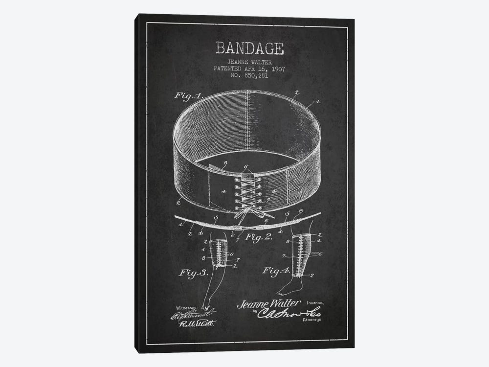Bandage 1 Charcoal Patent Blueprint by Aged Pixel 1-piece Canvas Wall Art