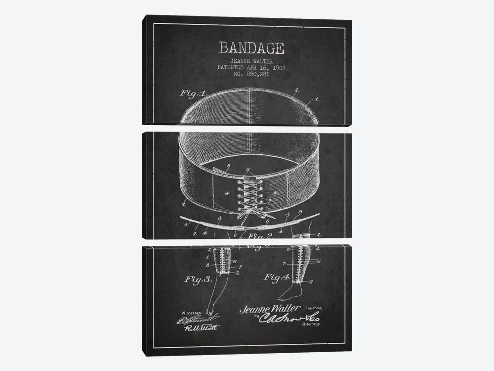 Bandage 1 Charcoal Patent Blueprint by Aged Pixel 3-piece Canvas Wall Art
