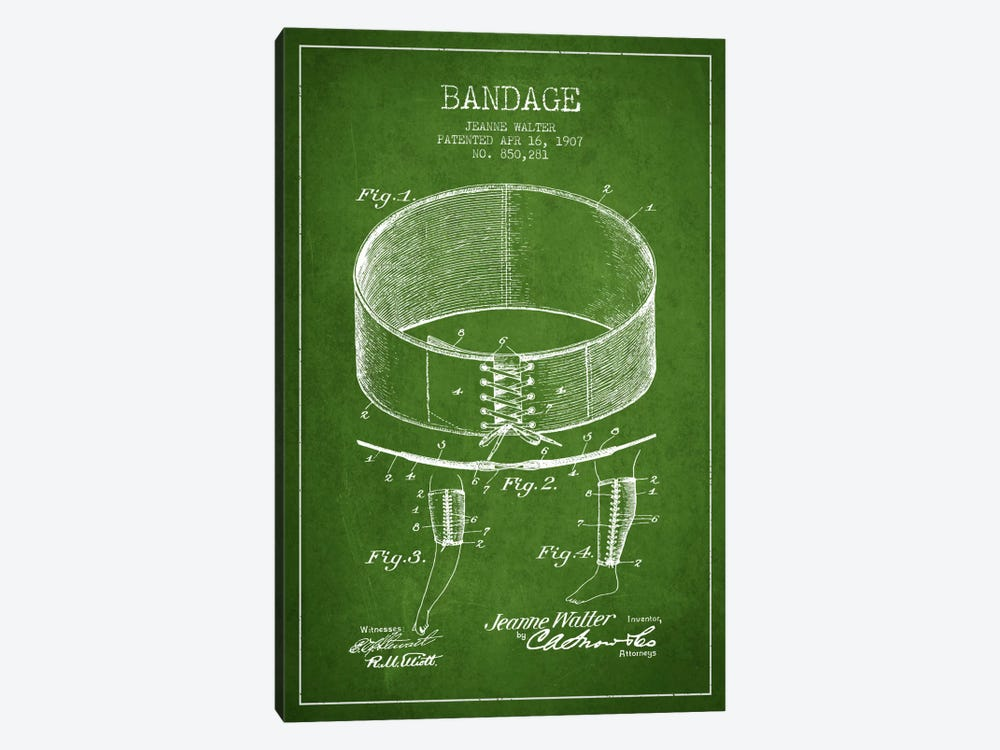Bandage 1 Green Patent Blueprint by Aged Pixel 1-piece Canvas Print