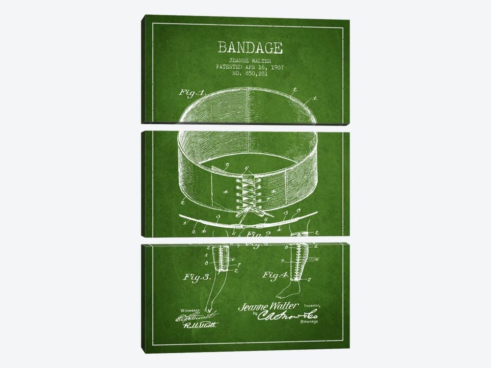 Bandage 1 Green Patent Blueprint by Aged Pixel 3-piece Art Print