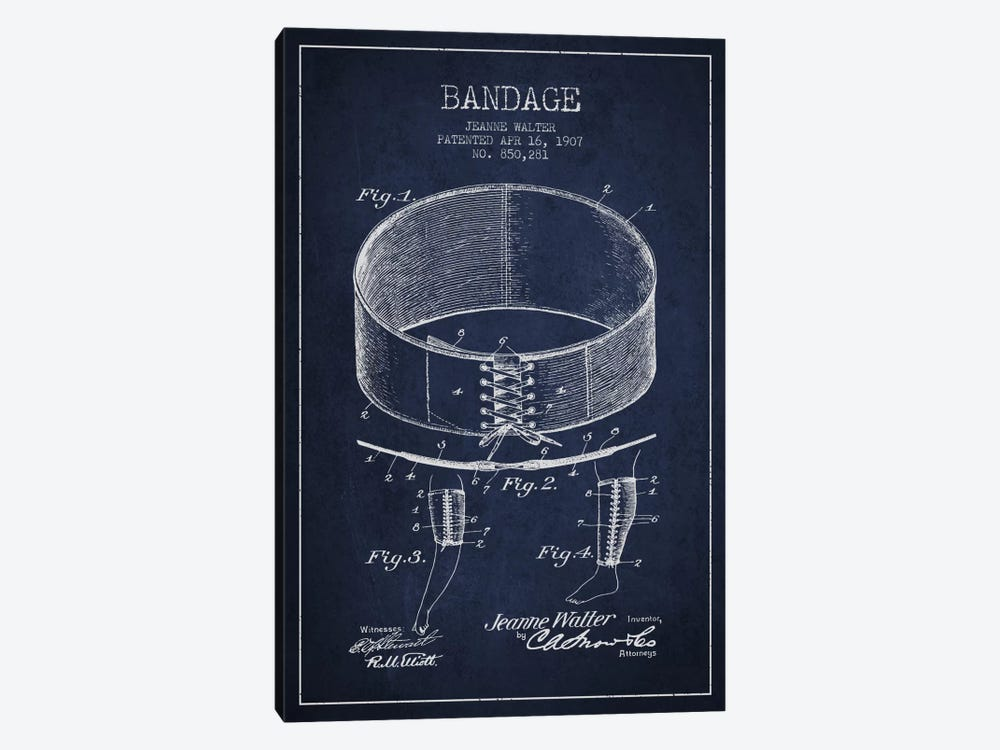 Bandage 1 Navy Blue Patent Blueprint 1-piece Canvas Art