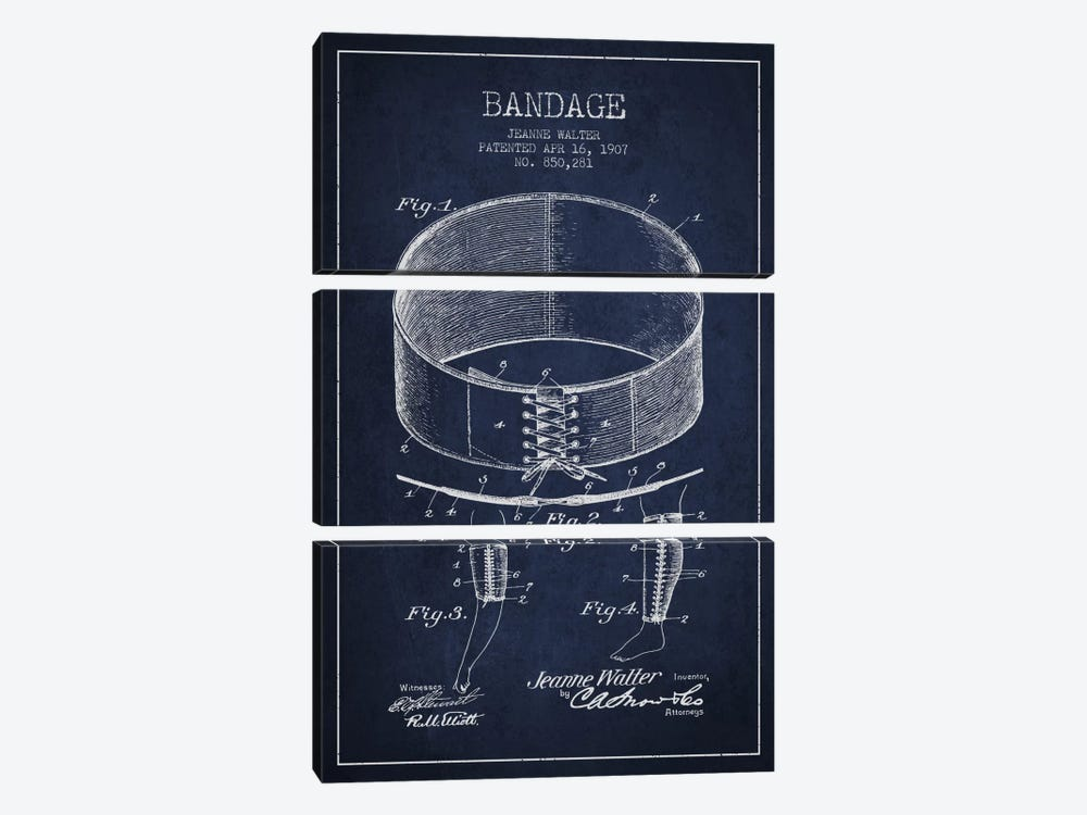 Bandage 1 Navy Blue Patent Blueprint by Aged Pixel 3-piece Canvas Wall Art
