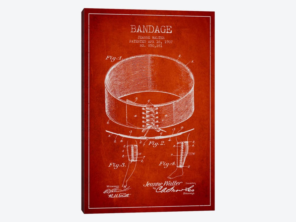 Bandage 1 Red Patent Blueprint by Aged Pixel 1-piece Art Print