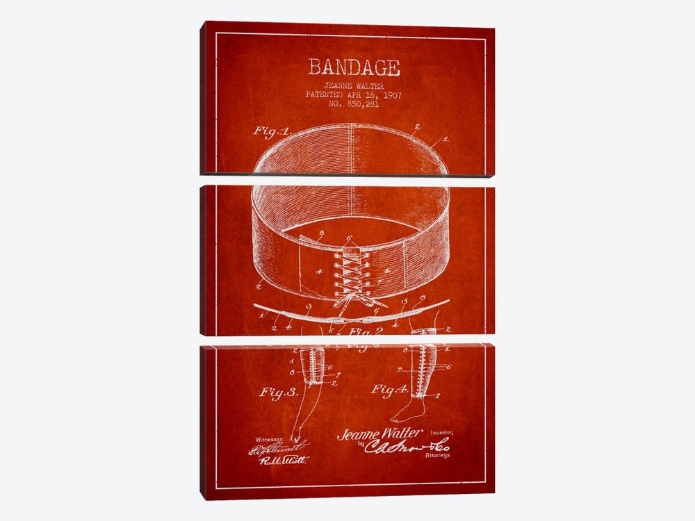 Bandage 1 Red Patent Blueprint by Aged Pixel 3-piece Art Print