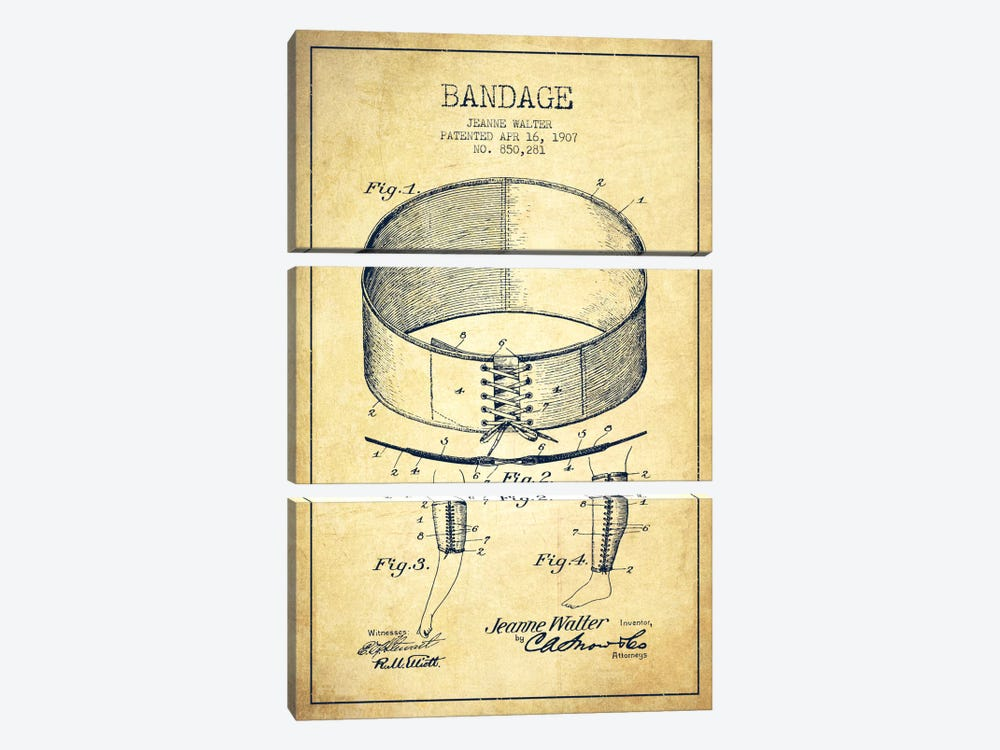 Bandage 1 Vintage Patent Blueprint by Aged Pixel 3-piece Canvas Wall Art