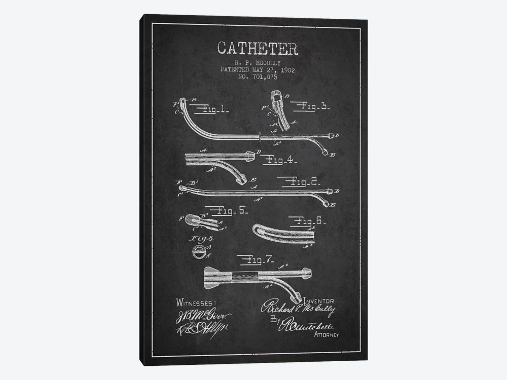 Catheter Charcoal Patent Blueprint by Aged Pixel 1-piece Art Print