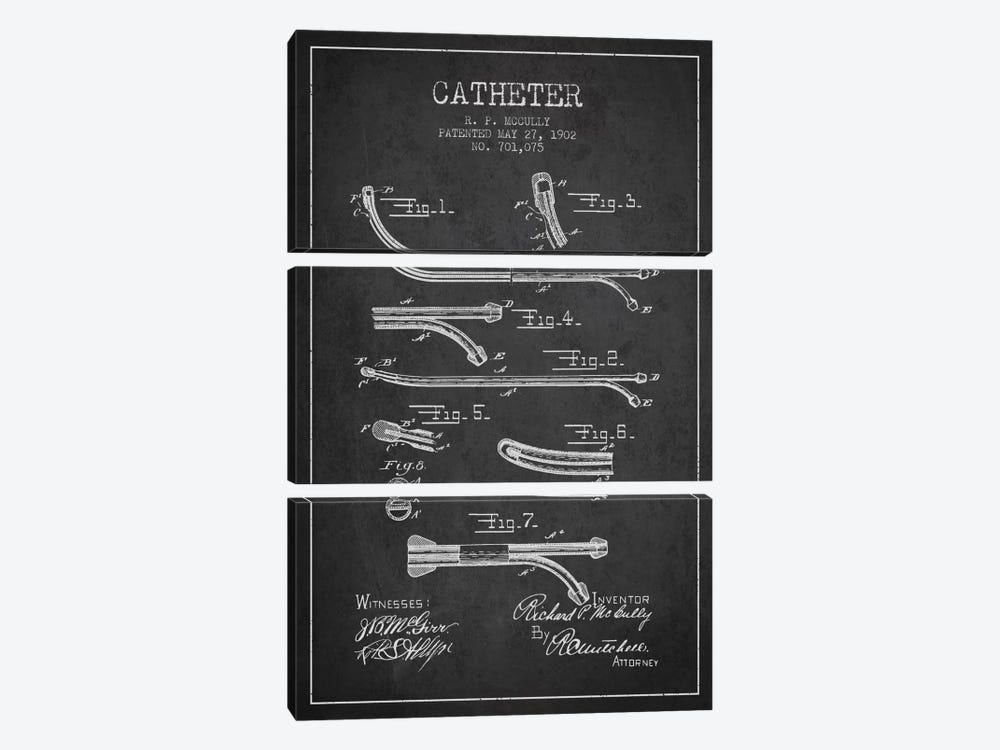 Catheter Charcoal Patent Blueprint by Aged Pixel 3-piece Canvas Art Print