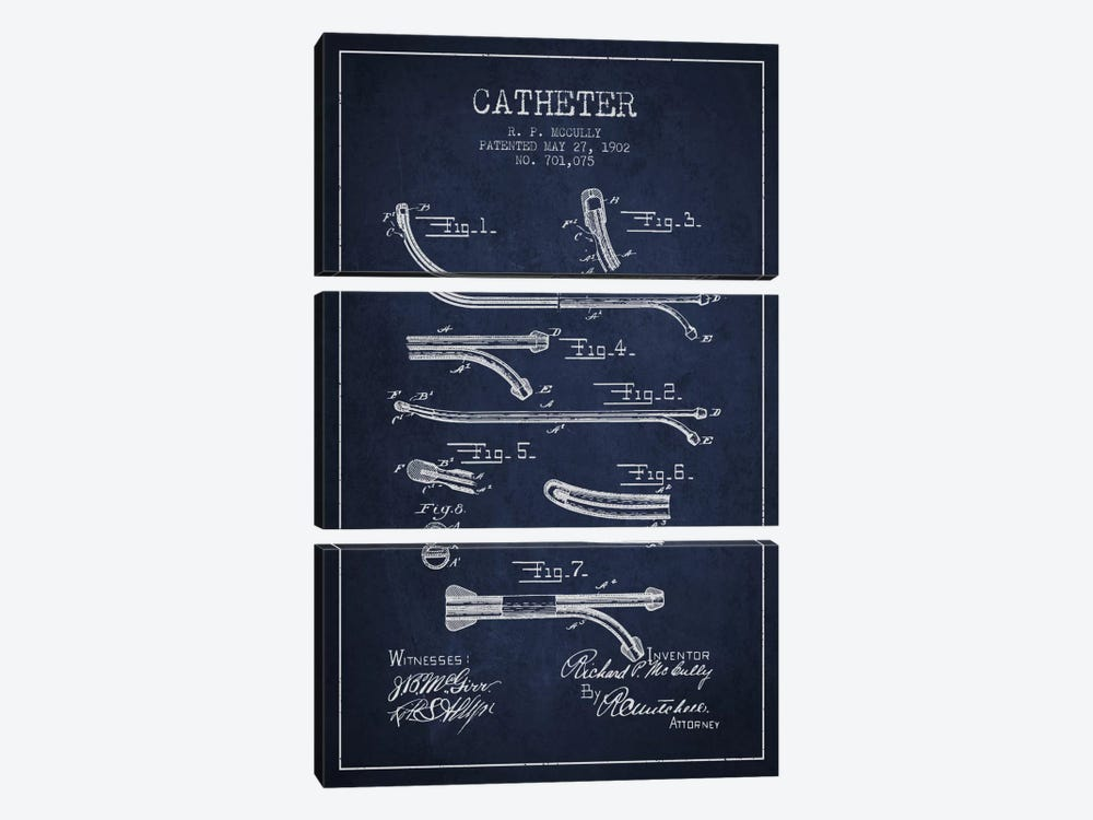 Catheter Navy Blue Patent Blueprint by Aged Pixel 3-piece Art Print