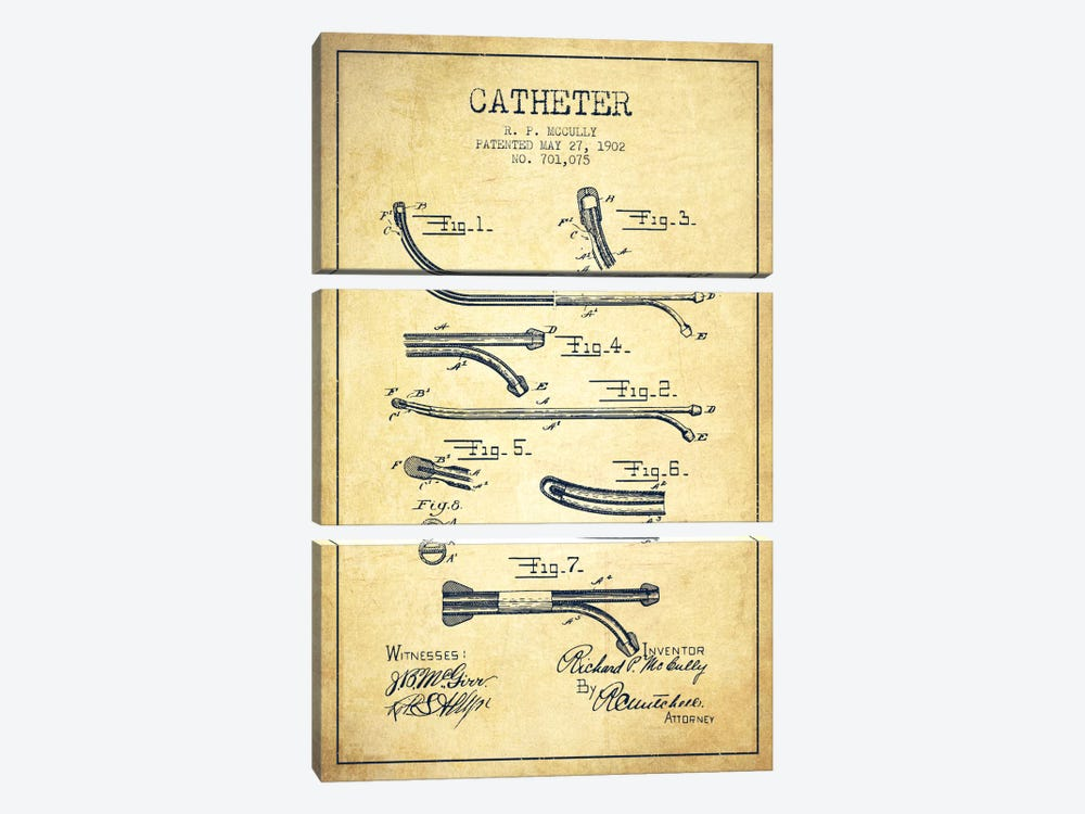 Catheter Vintage Patent Blueprint by Aged Pixel 3-piece Art Print
