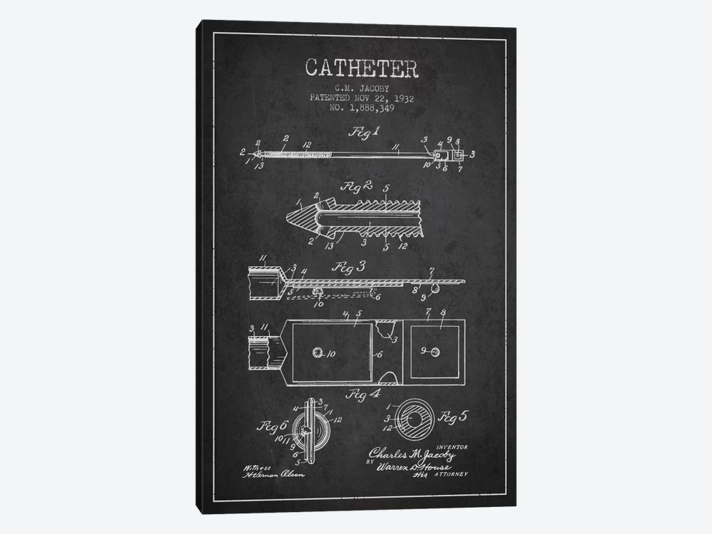 Catheter 1 Charcoal Patent Blueprint by Aged Pixel 1-piece Art Print
