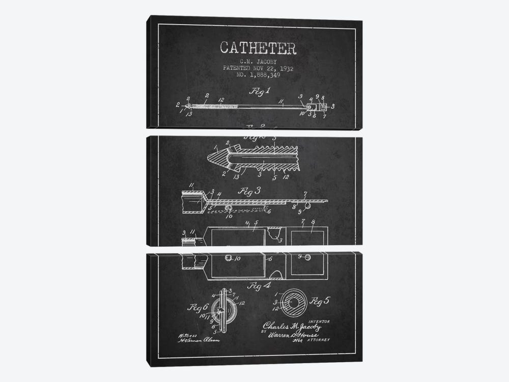 Catheter 1 Charcoal Patent Blueprint by Aged Pixel 3-piece Art Print
