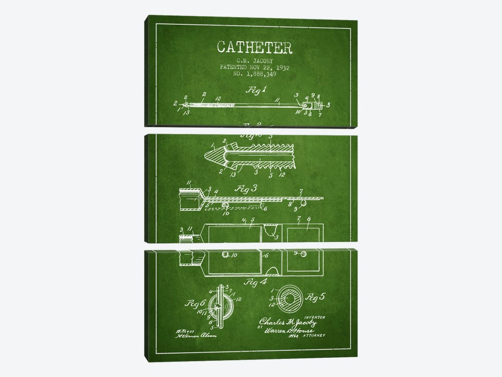 Catheter 1 Green Patent Blueprint by Aged Pixel 3-piece Canvas Artwork