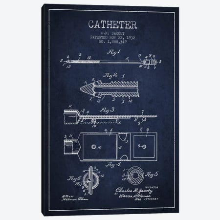 Catheter 1 Navy Blue Patent Blueprint Canvas Print #ADP1882} by Aged Pixel Canvas Artwork