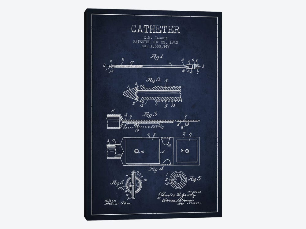 Catheter 1 Navy Blue Patent Blueprint by Aged Pixel 1-piece Canvas Print