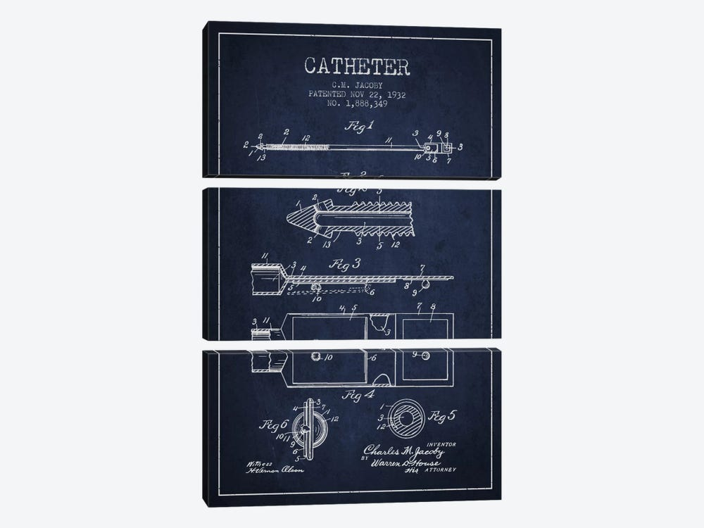 Catheter 1 Navy Blue Patent Blueprint by Aged Pixel 3-piece Canvas Print