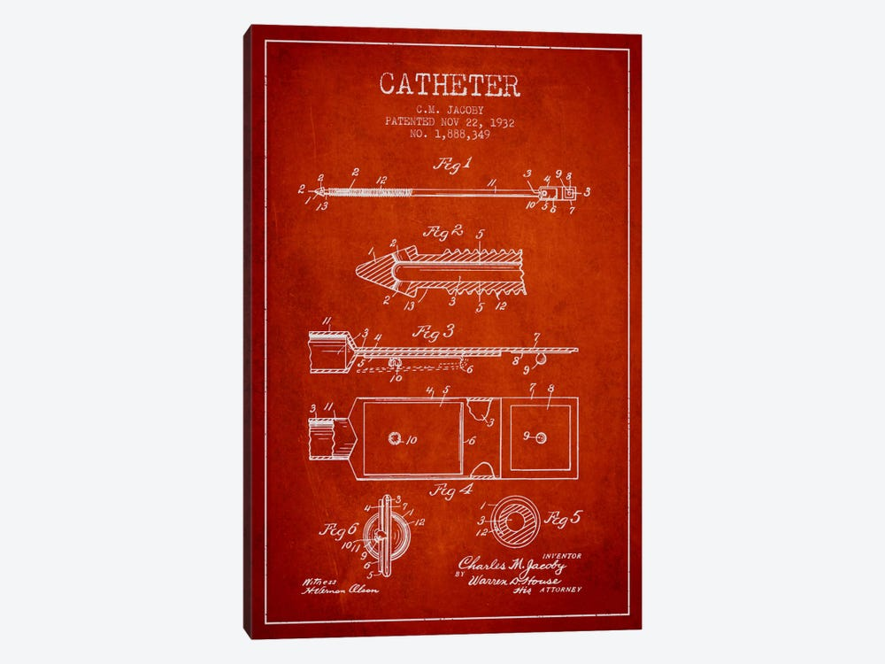 Catheter 1 Red Patent Blueprint by Aged Pixel 1-piece Canvas Wall Art