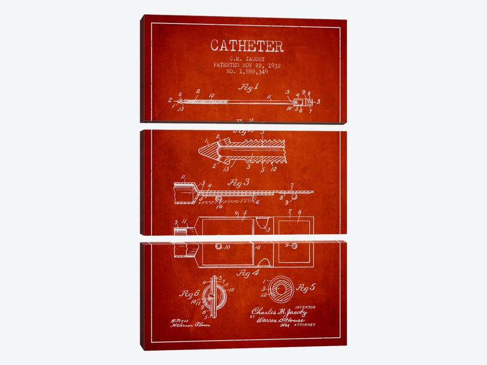 Catheter 1 Red Patent Blueprint by Aged Pixel 3-piece Canvas Art