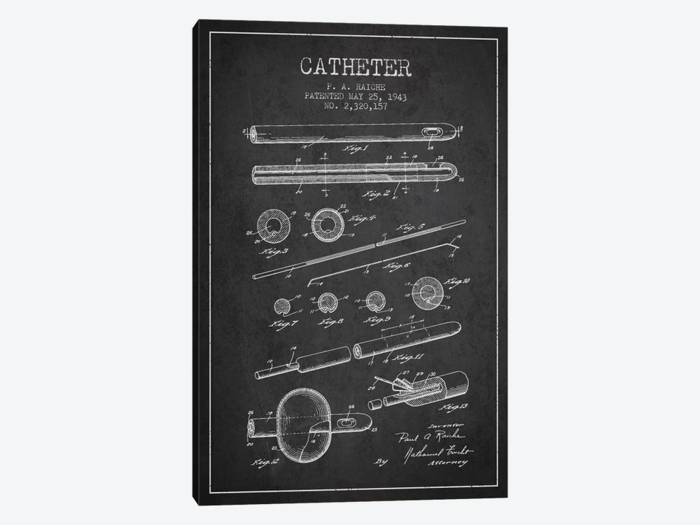 Catheter 2 Charcoal Patent Blueprint by Aged Pixel 1-piece Canvas Wall Art