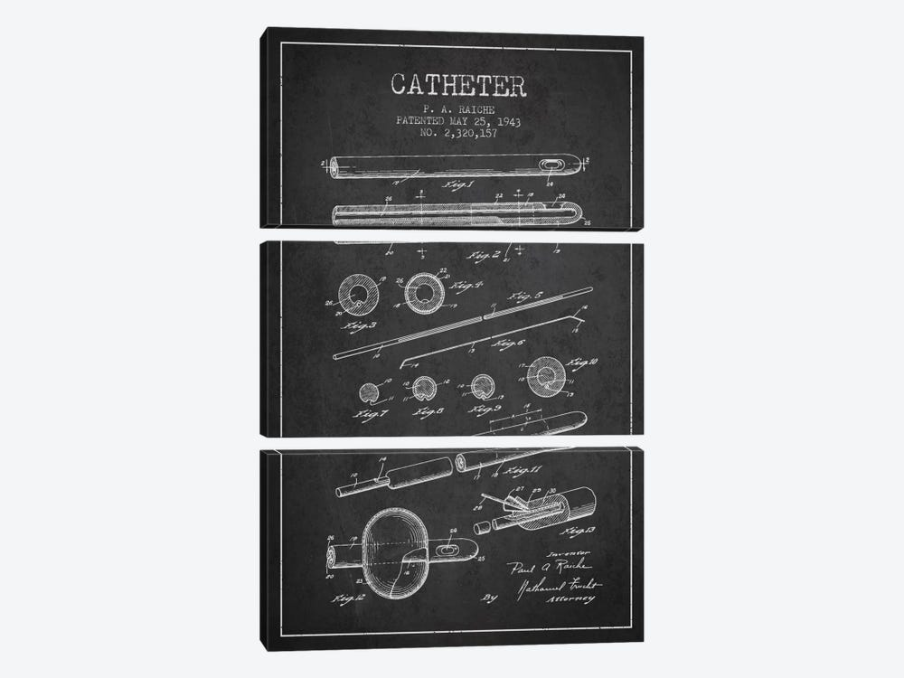 Catheter 2 Charcoal Patent Blueprint by Aged Pixel 3-piece Canvas Artwork
