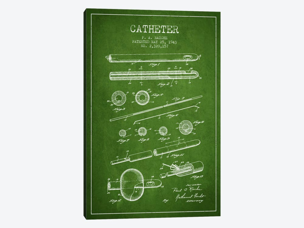 Catheter 2 Green Patent Blueprint by Aged Pixel 1-piece Canvas Print