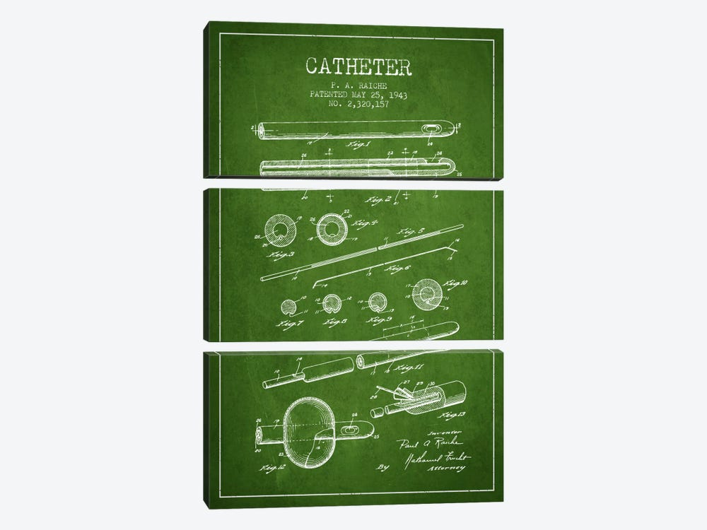 Catheter 2 Green Patent Blueprint by Aged Pixel 3-piece Canvas Art Print