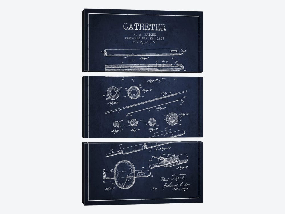 Catheter 2 Navy Blue Patent Blueprint by Aged Pixel 3-piece Canvas Wall Art