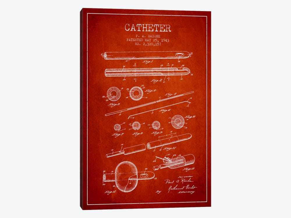 Catheter 2 Red Patent Blueprint 1-piece Art Print