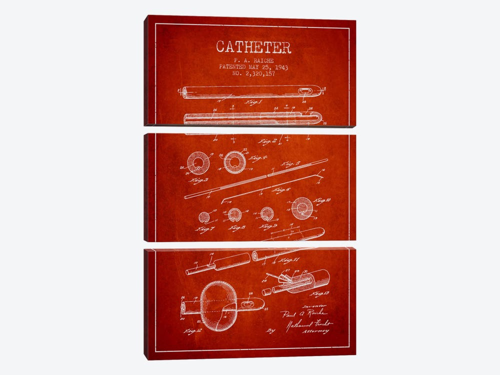 Catheter 2 Red Patent Blueprint 3-piece Canvas Print