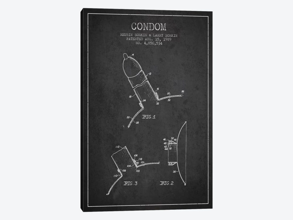 Condom Charcoal Patent Blueprint by Aged Pixel 1-piece Canvas Artwork