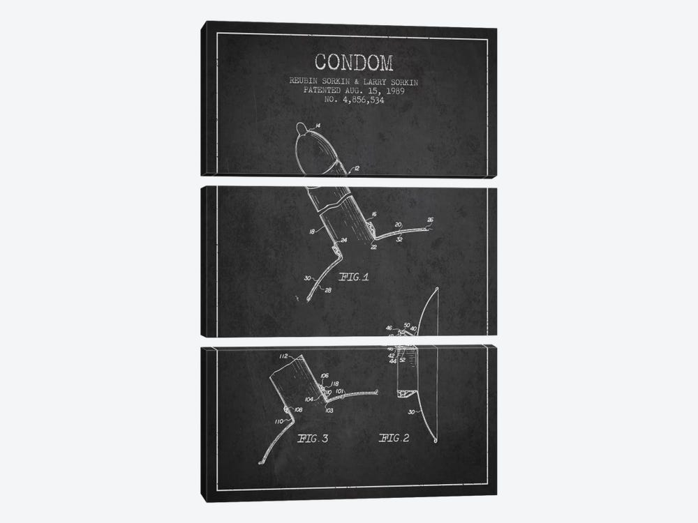 Condom Charcoal Patent Blueprint by Aged Pixel 3-piece Canvas Artwork