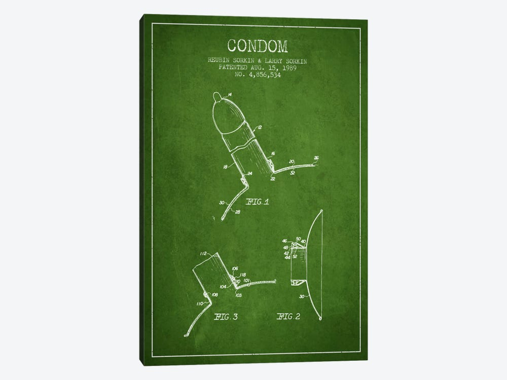 Condom Green Patent Blueprint by Aged Pixel 1-piece Art Print