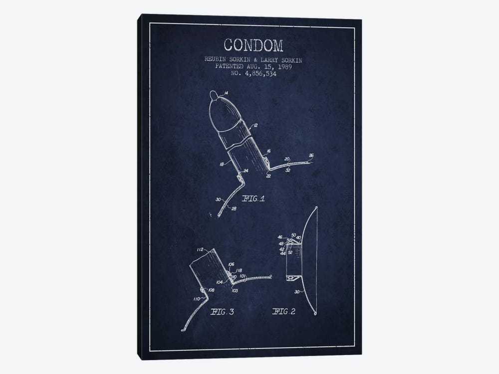 Condom Navy Blue Patent Blueprint by Aged Pixel 1-piece Canvas Artwork