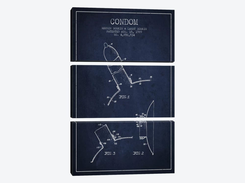 Condom Navy Blue Patent Blueprint 3-piece Canvas Wall Art